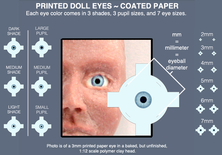 Miniature doll eyes in 7 sizes and many colors