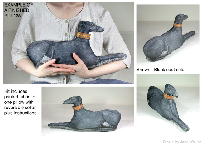 Images of a                               completed black greyhound pillow.