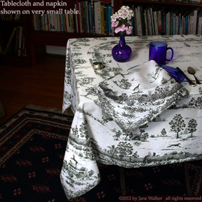 greyhound                                       toile tablecloth and napkin
